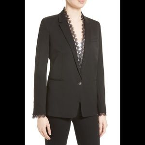 The Kooples Black Stretch Smoking Jacket Blazer